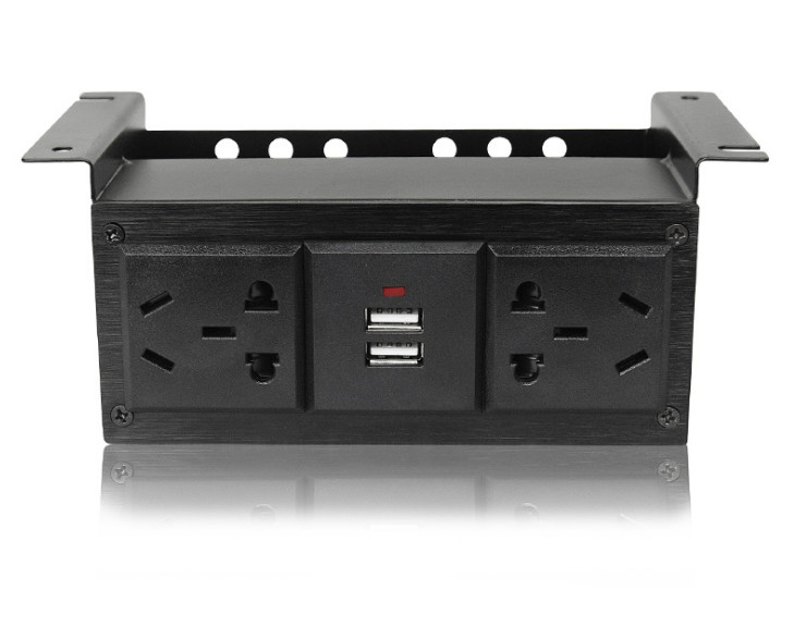 Under Office Under Desk Power Strip With USB Charger , Desk Mounted Power Socket Outlet